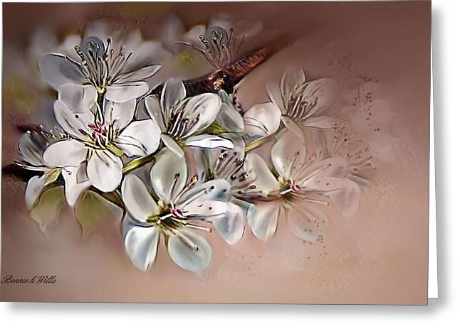 Greeting Card featuring the painting Oriental Pear Blossom by Bonnie Willis