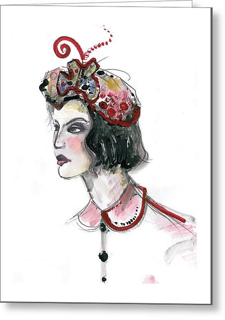 Original Watercolor Fashion Illustration Greeting Card by Marian Voicu
