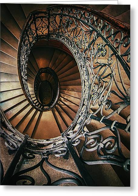 Greeting Card featuring the photograph Ornamented Spiral Staircase by Jaroslaw Blaminsky