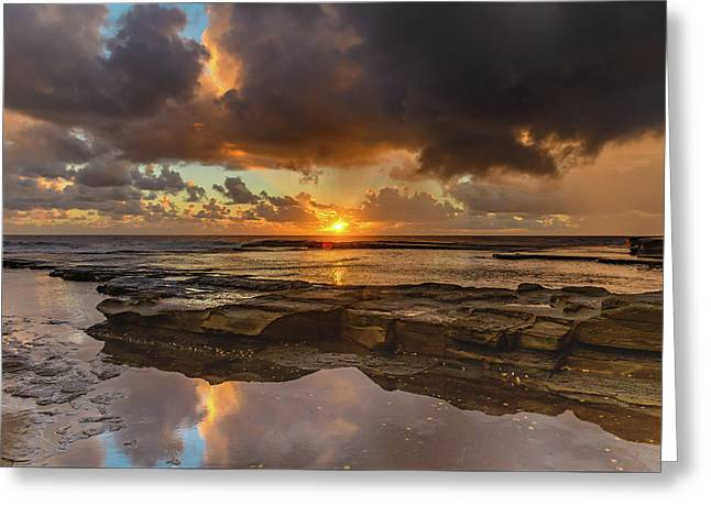 Overcast And Cloudy Sunrise Seascape Greeting Card
