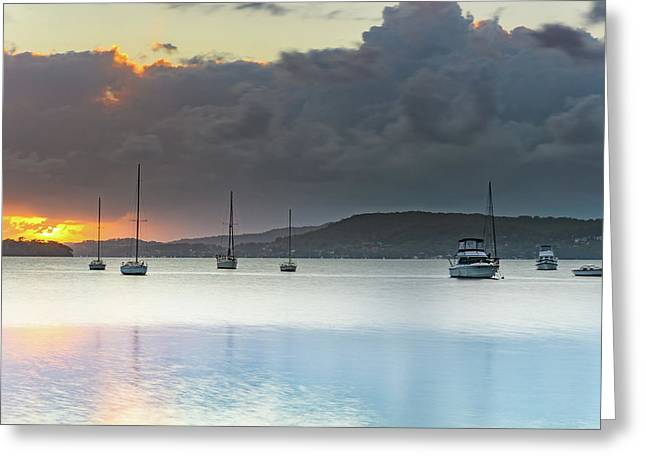 Overcast Sunrise Waterscape Greeting Card