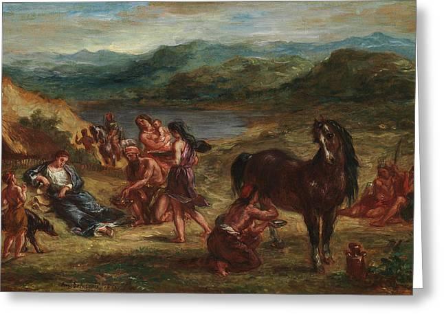 Ovid Among The Scythians Greeting Card by Eugene Delacroix