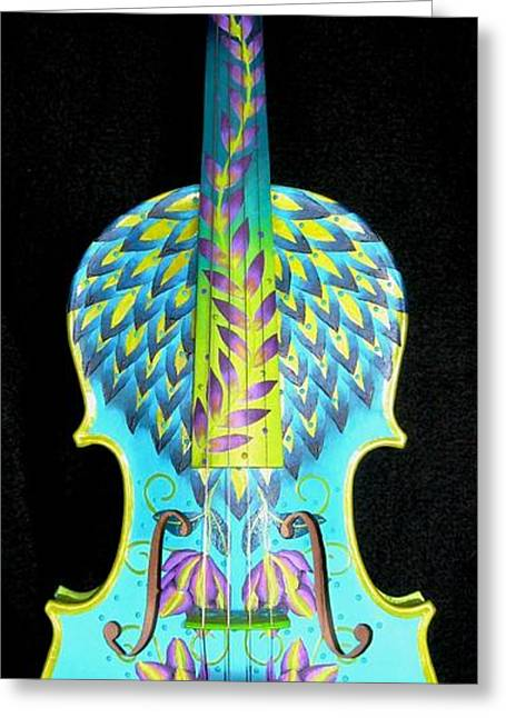 Turquoise Violin Greeting Cards - Painted Violin Greeting Card by Elizabeth Elequin