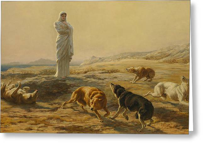 Pallas Athena And The Herdsman's Dogs Greeting Card by Briton Riviere