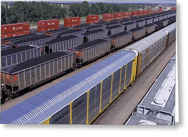 Panoramic View Of Freight Cars At Union Greeting Card by Panoramic Images