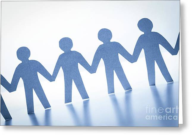 Paper People Standing Together Hand In Hand. Team, Society, Business Concept Greeting Card