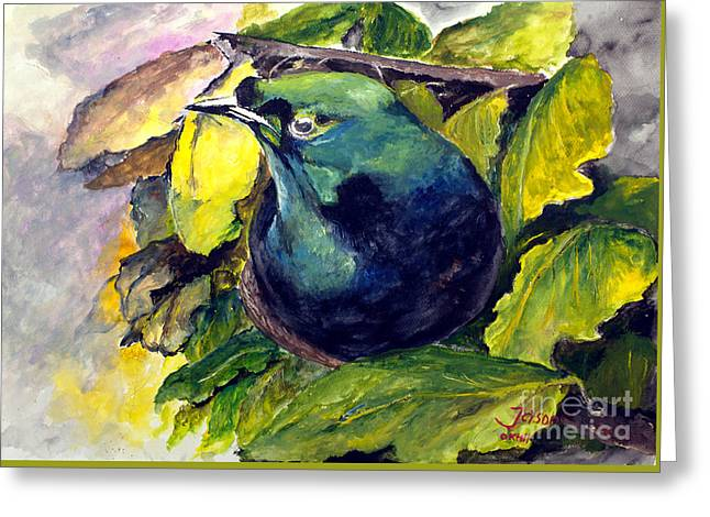 Greeting Card featuring the painting Paradise Bird by Jason Sentuf