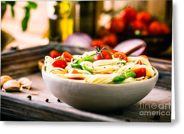 Pasta With Olive Oil  Greeting Card by Mythja Photography