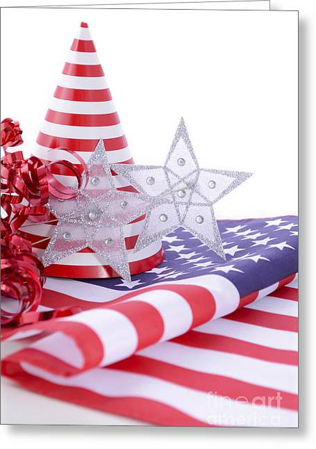 Patriotic Party Decorations For Usa Events Greeting Card by Milleflore Images