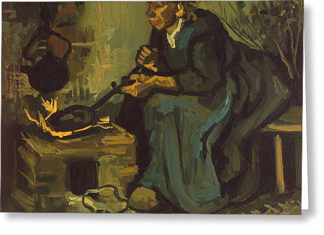 Peasant Woman Cooking By A Fireplace Greeting Card by Vincent Van Gogh