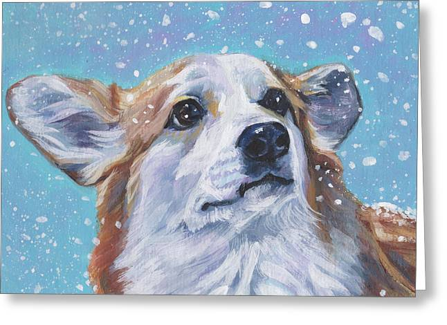 Greeting Card featuring the painting Pembroke Welsh Corgi by Lee Ann Shepard