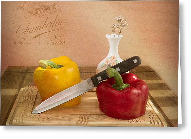 Pepper Greeting Cards - 2 Peppers and Knife Greeting Card by Ian Barber