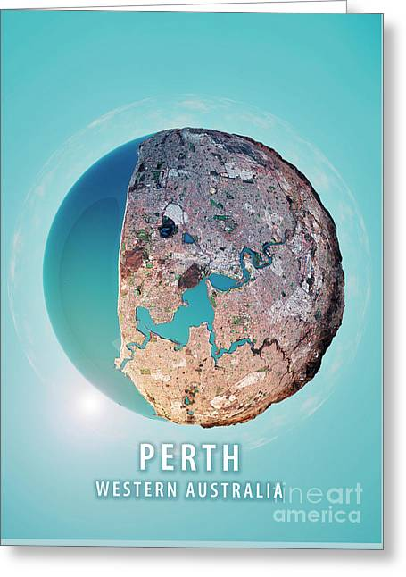 Perth 3d Little Planet 360-degree Sphere Panorama Greeting Card