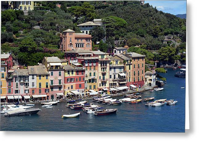 Photography Of The Beautiful Portofino Fishing Village In Italy. Aerial View On Small Bay And Colorf Greeting Card