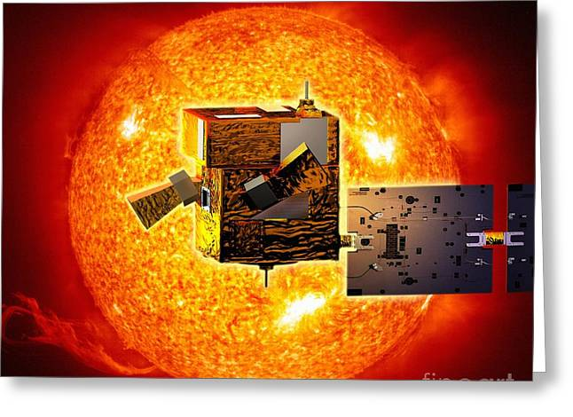Picard Satellite And Sun, Artwork Greeting Card