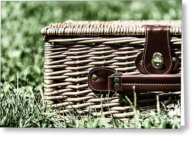 Picnic Basket Hamper With Leather Handle In Green Grass Greeting Card by Radu Bercan