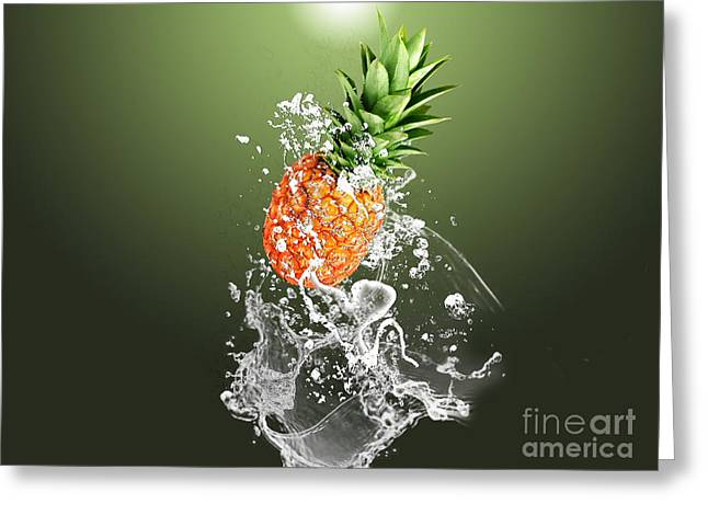 Pineapple Splash Greeting Card by Marvin Blaine