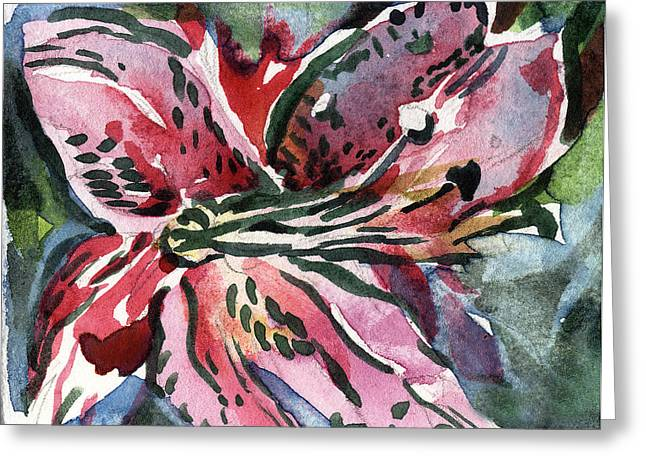 Pink Day Lily Greeting Card by Mindy Newman