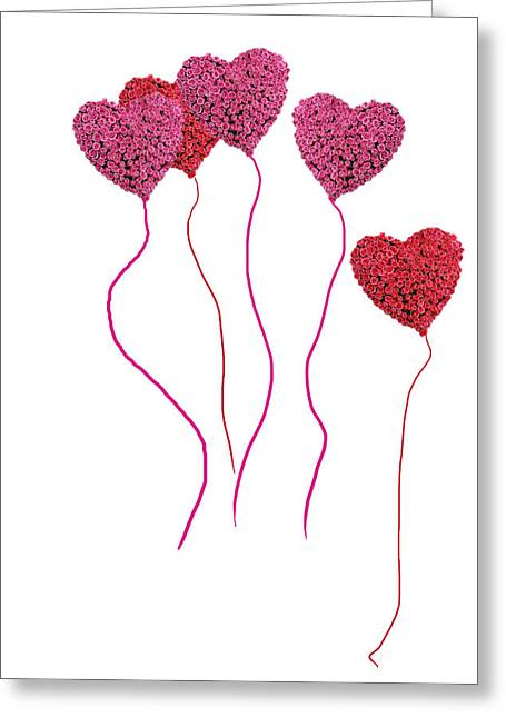Pink Roses In Heart Shape Balloons  Greeting Card by Michael Ledray