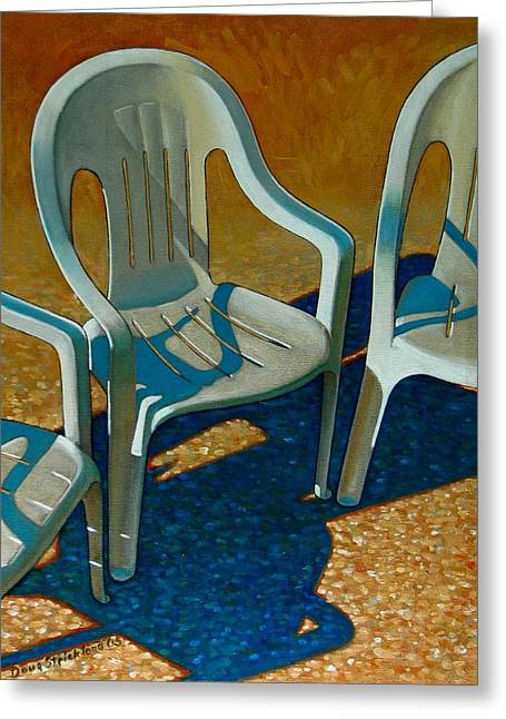 Plastic Patio Chairs Greeting Card by Doug Strickland