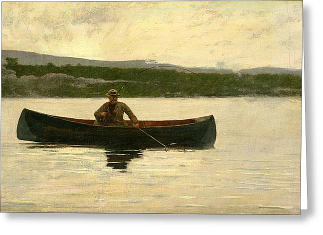 Greeting Card featuring the painting Playing A Fish by Winslow Homer