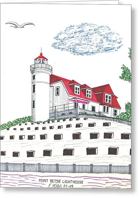 Lighthouse Greeting Cards - Point Betsie Lighthouse Greeting Card by Frederic Kohli