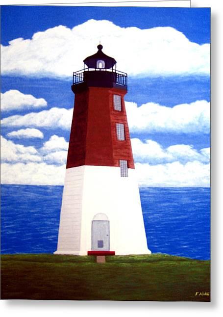 Point Judith Lighthouse Greeting Card by Frederic Kohli