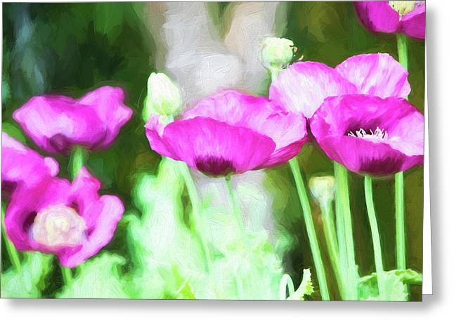Greeting Card featuring the painting Poppies by Bonnie Bruno
