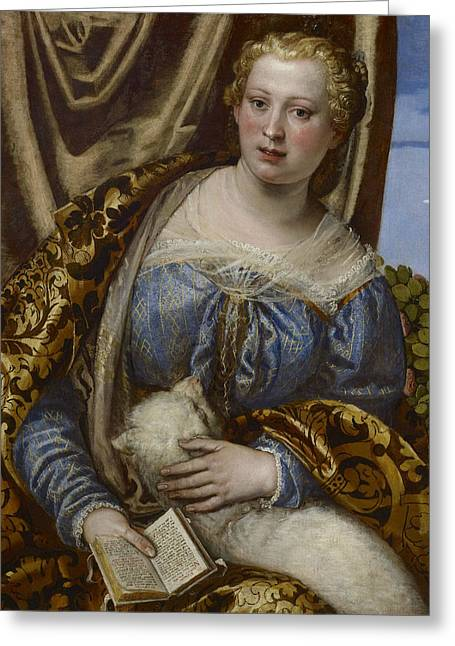 Portrait Of A Lady As Saint Agnes  Greeting Card