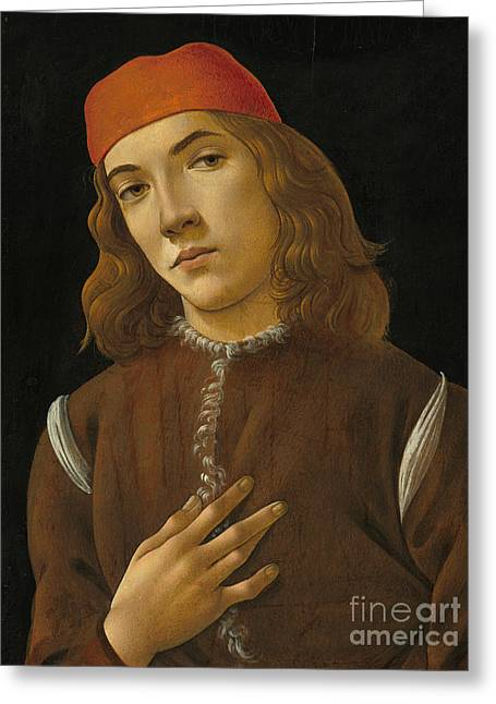 Portrait Of A Youth Greeting Card by Sandro Botticelli