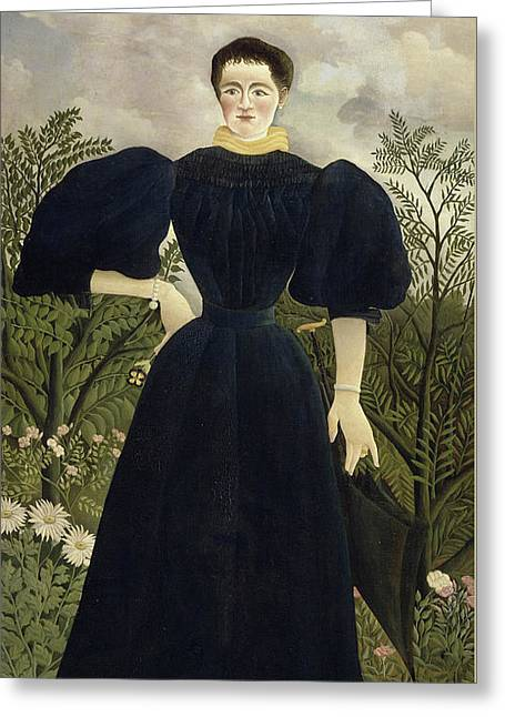 Portrait Of Madame M Greeting Card by Henri Rousseau