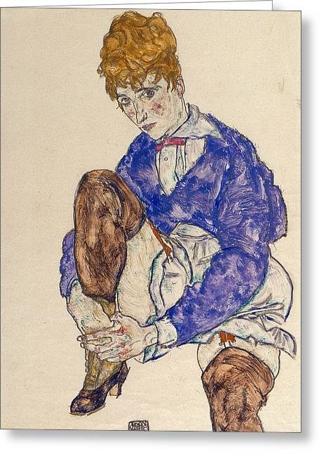 Portrait Of The Artist's Wife Seated, Holding Her Right Leg Greeting Card by Egon Schiele