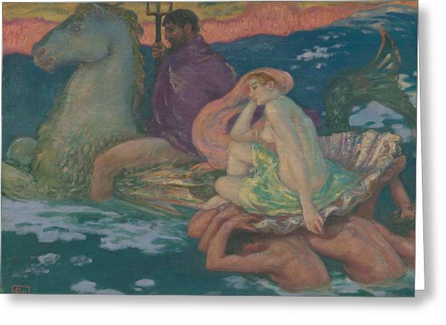 Poseidon And Amphitrite Greeting Card by Rupert Bunny