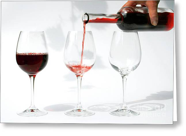 Pouring Red Wine Into Glass Greeting Card