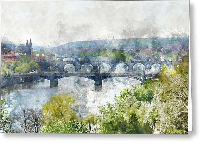 Prague Czech Republic Greeting Card by Brandon Bourdages