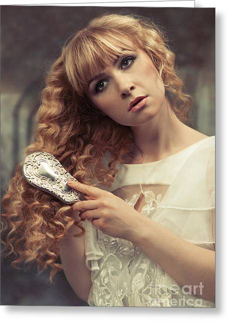 Pre-raphaelite Beauty Greeting Card by Amanda Elwell