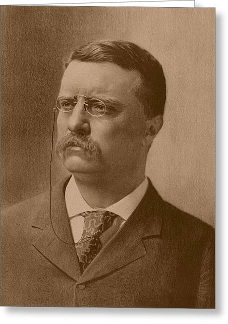 Us History Drawings Greeting Cards - President Theodore Roosevelt Greeting Card by War Is Hell Store