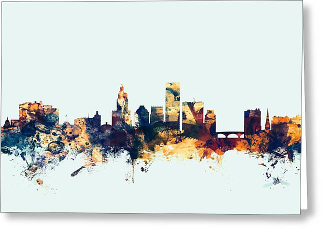 Providence Rhode Island Skyline Greeting Card by Michael Tompsett