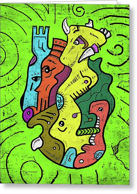 Psychedelic Animals Greeting Card