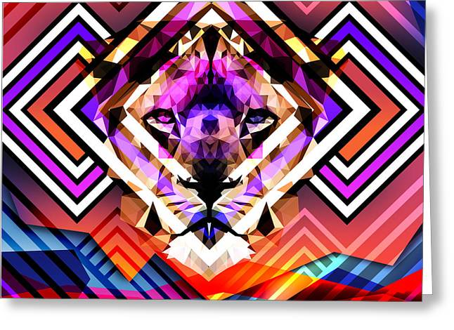 Psychedelic Lion Greeting Card
