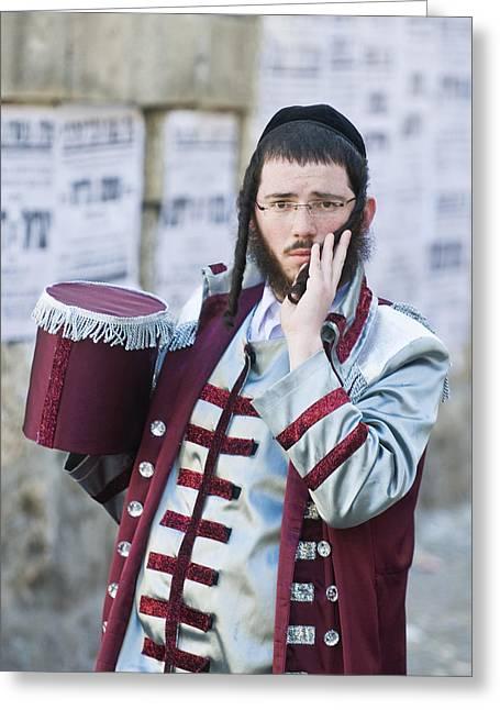 Purim In Mea Shearim Greeting Card by Kobby Dagan