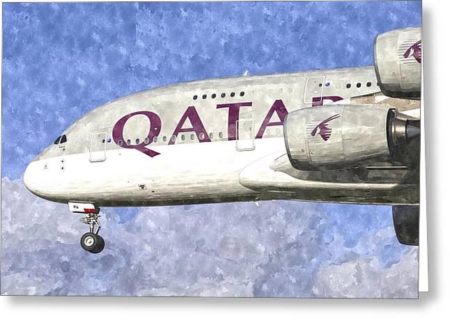 Qatar Airlines Airbus A380 Art Greeting Card