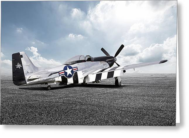 Greeting Card featuring the digital art Quick Silver P-51 by Peter Chilelli