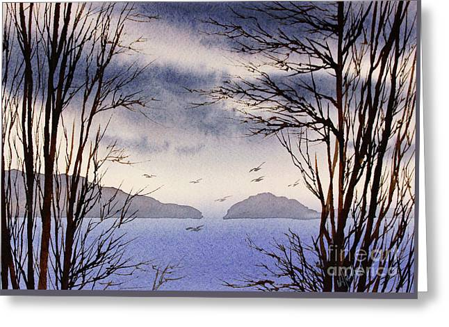 Greeting Card featuring the painting Quiet Shore by James Williamson