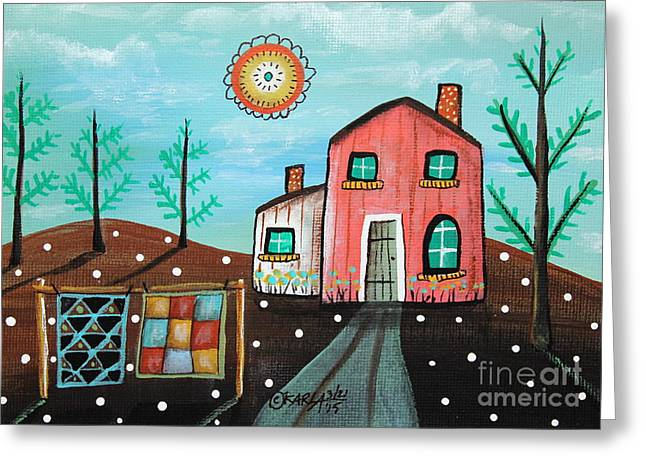 2 Quilts Greeting Card by Karla Gerard