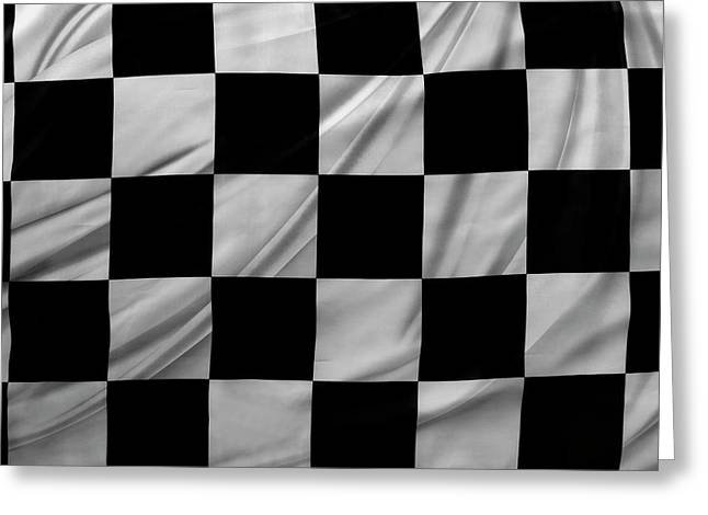 Racing Flag Greeting Card by Les Cunliffe