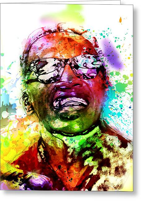 Ray Charles Greeting Card by Elena Kosvincheva