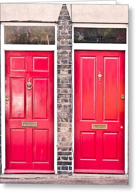 Red Doors Greeting Card by Tom Gowanlock