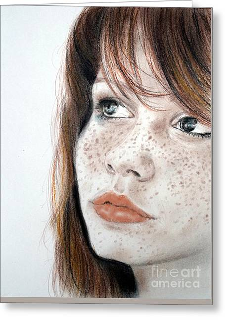 Red Hair And Freckled Beauty Greeting Card