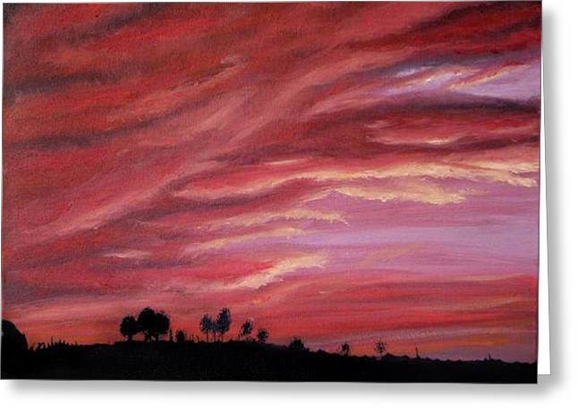 Red Skies Greeting Card by Michelle Fayant